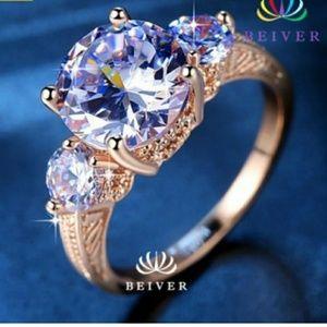 3carat beautiful rose gold filled engagement ring